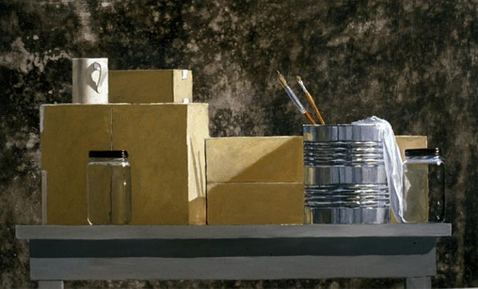 'Can, Brushes, Boxes and a Cup', acrylic on canvas, 2000, 20.5x34'; private collection