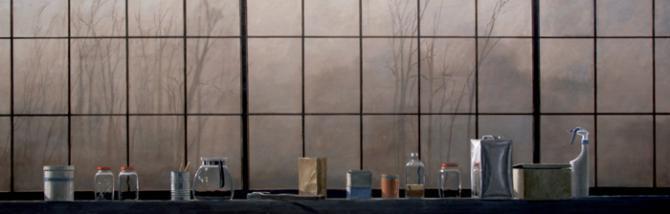 'Studio in Half Light II', 2005-09, oil on canvas, 30 X 90 inches