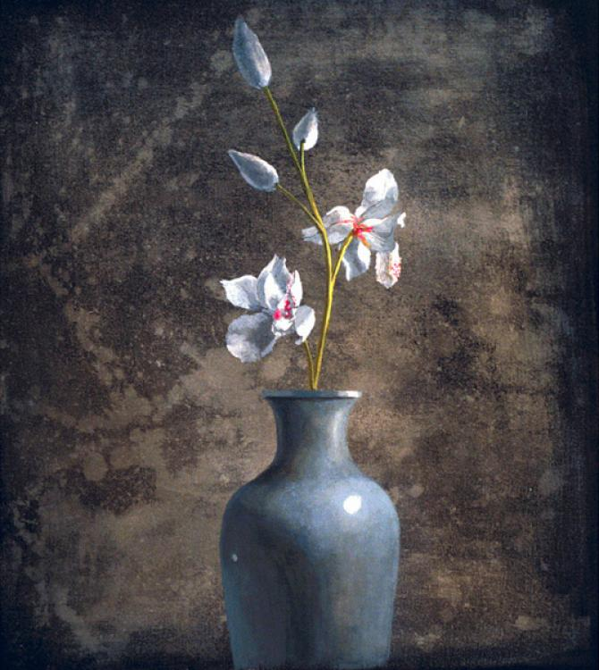 'Irises in a Blue Vase', acrylic on canvas, 2001, 22 X20 inches