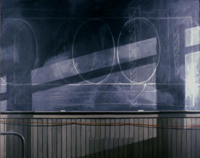 """Studio Blackboard"", 1989, oil on canvas, 48 x 60"", private collection, NYC"
