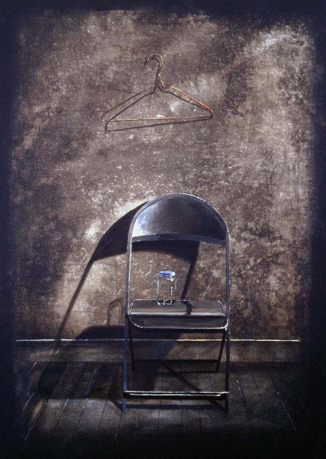 """Folding Chair, Jar, Coat Hanger"", 1997, acrylic on canvas, 36 x 26"""