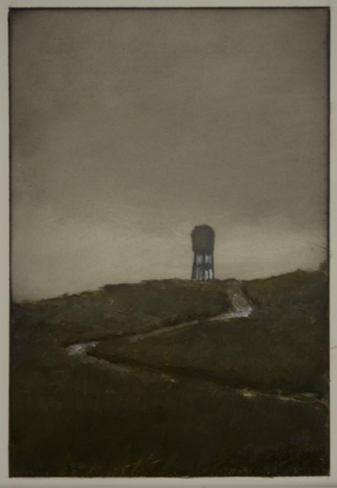 """Water Tower II"", 2013, oil on paper, 7 x 5"""