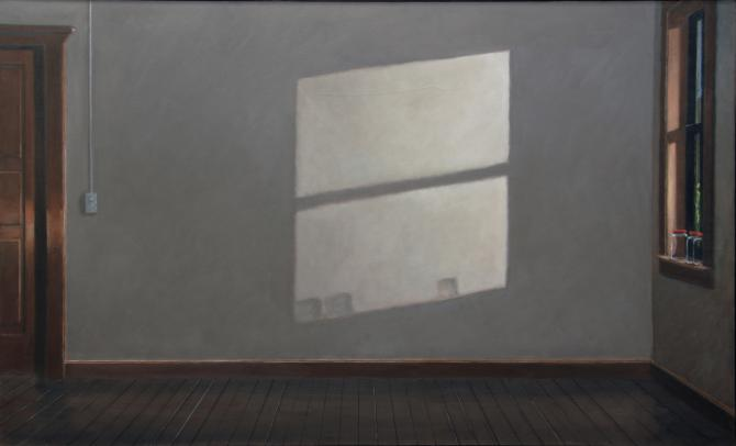 """Room with Three Jars"", 2009-10, oil on canvas, 40 X 66 inches"