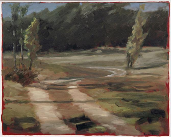 'Farm Road II', 2007, oil on gessoed paper, 10 X 12 1/2 inches (image area)