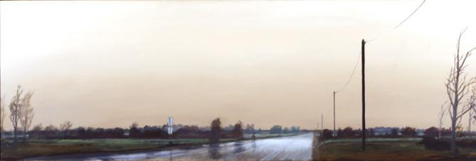 'Approaching Town', oil on canvas, 20x60', 2005, private collection, Seattle