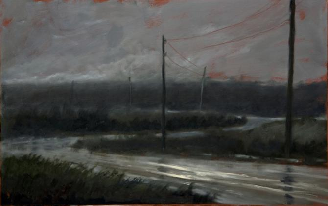 'Rural Road at Night II', 2011,oil on gessoed paper, 14 x 22 inches
