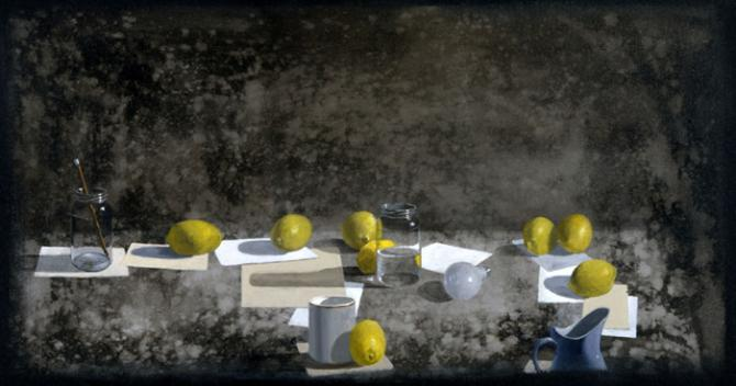 'Still Life with Lemons, Envelopes and Pencil', acrylic on canvas, 24x48', 1998, private collection, San Francisco