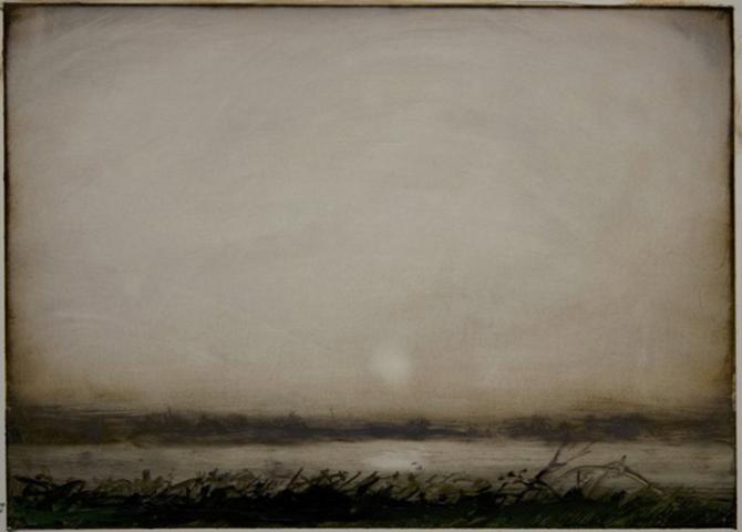 'Landscape Notes 1', 2012, oil on paper, 5 x 7'