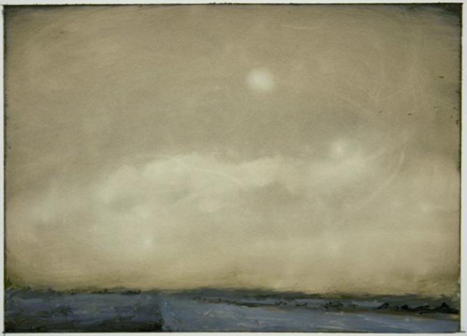 'Landscape Notes: Dust storm', 2012, oil on paper, 5 x 7'