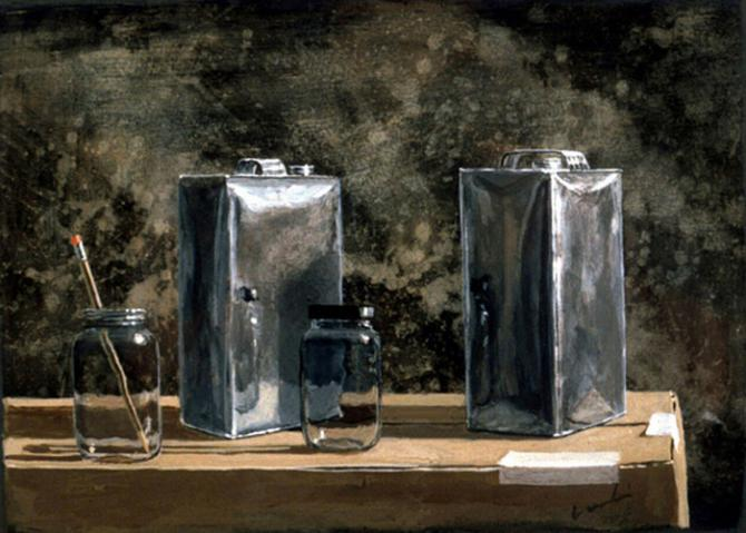 'Solvent Cans', acrylic on paper, 2001, 12x14'; private collection, NYC