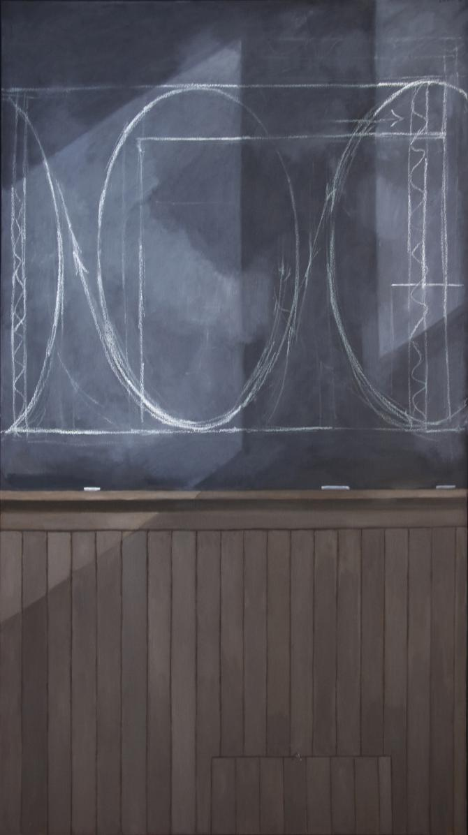 """Blackboard- Former Studio"", 2015, oil on canvas, 72 x 40"""