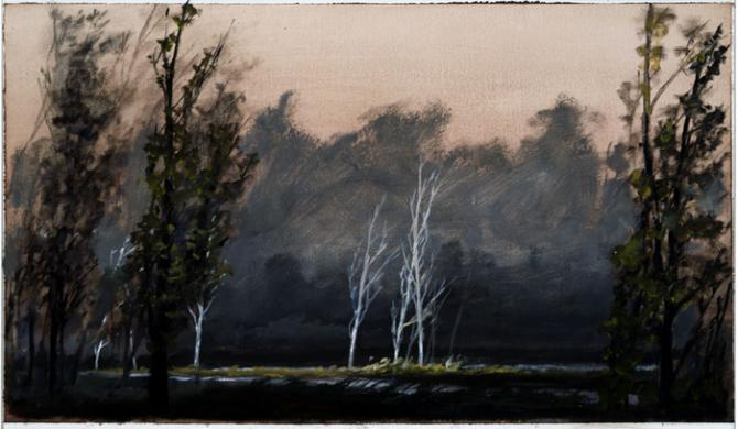 """""""Fork in the River"""", 2002, oil on paper, 8.25 x 14.75"""", private collection"""