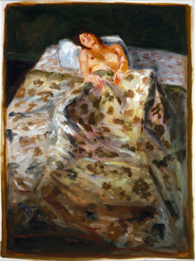 'Girl with Flowered Bedspread', 1976, oil on paper, 26 X 19 inches; collection of the artist