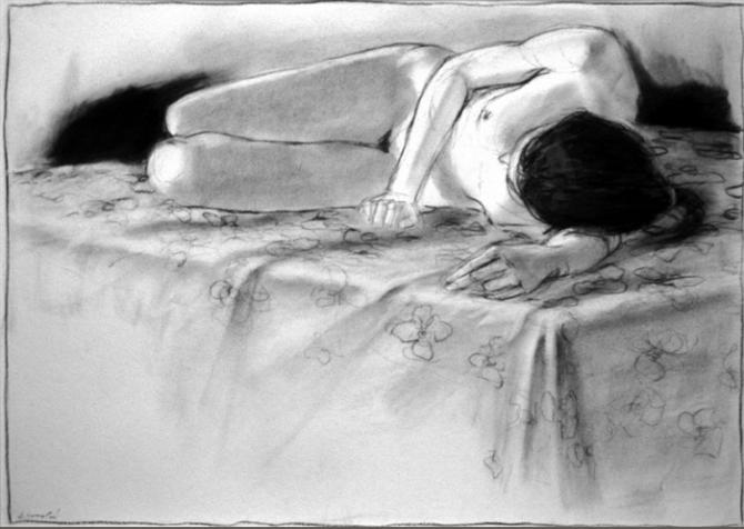 'Sleep', charcoal on paper, 19x27' (image) 2002; private collection