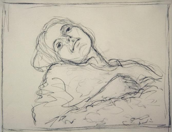 """""""Barbara"""", 1970's, charcoal on paper, 9 x 14"""", private collection"""
