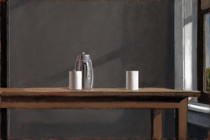 """Coffee Pot and Two Cups"", 2019, oil on canvas, 20"" x 30"""