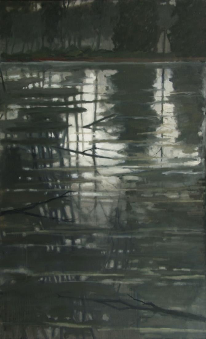 """Flood Waters Receding"", 2015-16, oil on canvas, 72 x 44"""