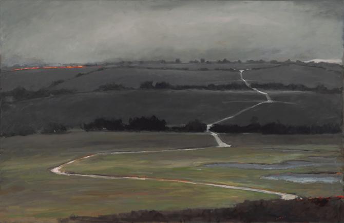 """Grass Fire"", 2019, oil on canvas, 48"" x 72"""