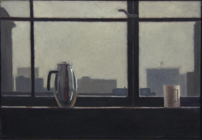 """Hotel- Coffee Pot and Cup"", 2015, oil on canvas, 22 x 32"""