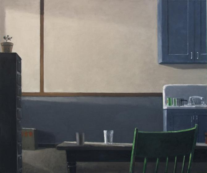 """Kitchen with Green Chair"", 2015, oil on canvas, 40 x 48"""