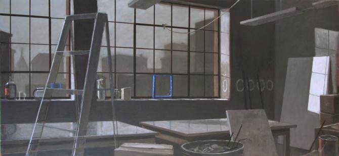 """Loft, Broken Window, Morning"", 2015, oil on canvas, 42 x 90"""