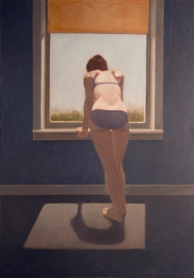 """Looking at the Sea"", 1975 (Subsequently reworked by the artist), oil on canvas, mounted on wood panel, 48 x 68"""