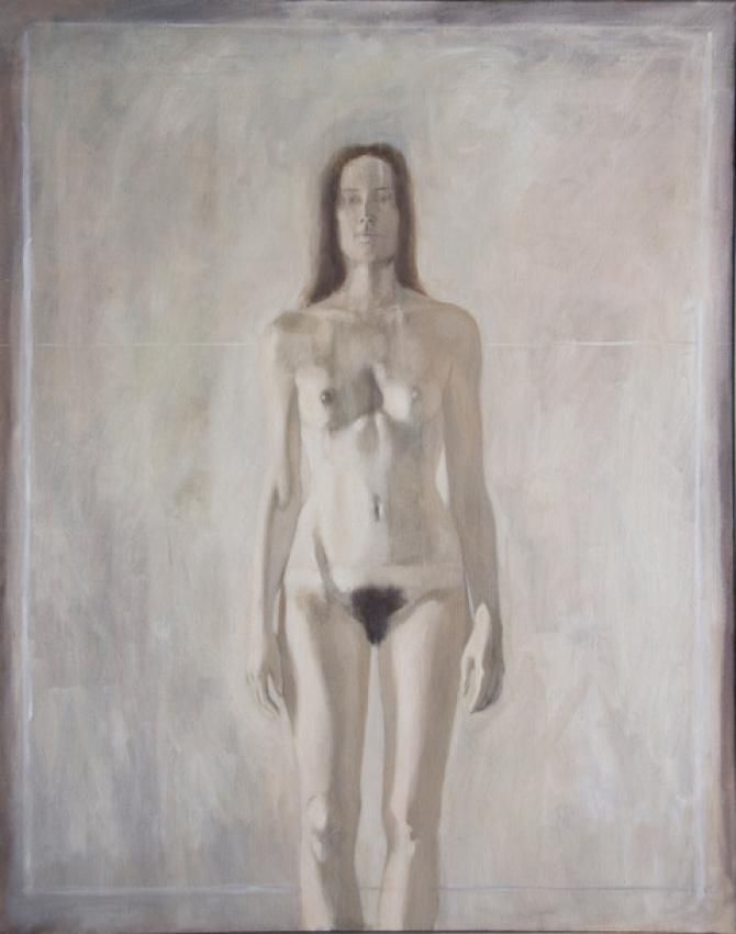 """Melonie Standing"", 1976 (Subsequently reworked by the artist), oil on canvas, mounted on wood panel, 44 x 35"""