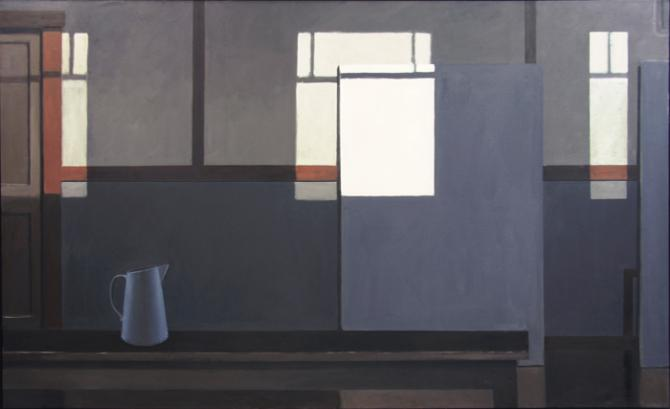 """Mondrian's Studio with the Lights Off (Blue Pitcher)"", 2016, oil on canvas, 44 x 72"""