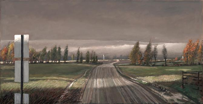 """Near My Brother-In-Law's Farm"", 2018, oil on canvas. 32"" x 62"""