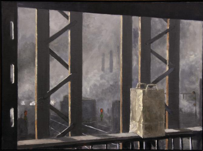 """""""Railway Trestle, Lower Level, Groceries"""", 2015, oil on canvas, 21.5 x 35"""""""
