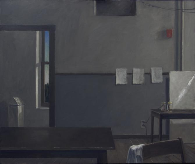"""Studio, Evening, Leaving, (Homage to V.H.)"", 2013, oil on canvas, 44 x 53"""