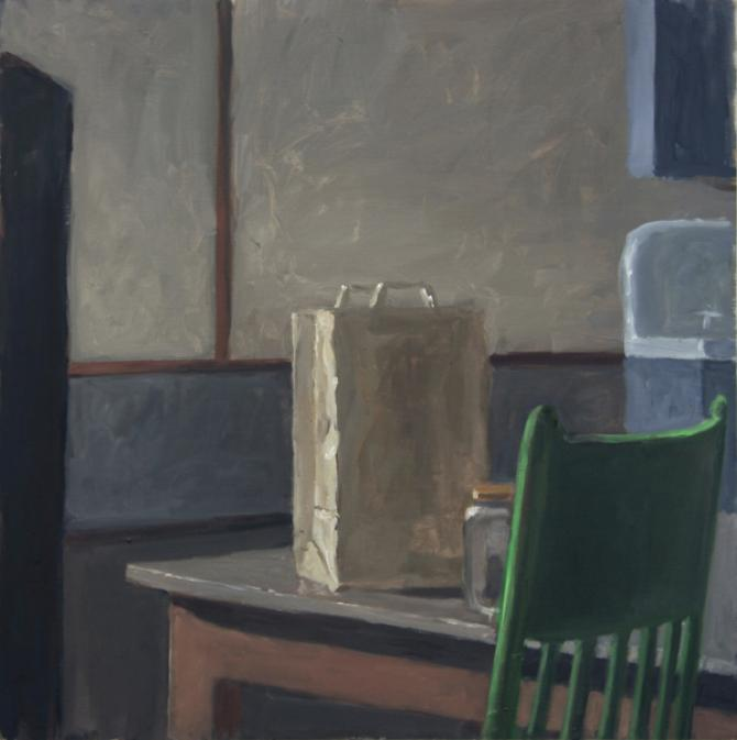 """Study- Denny and Gretchen's Kitchen"", 2015, oil on wood panel, 21 x 21"""