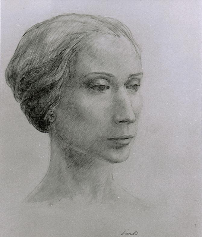 """""""Woman from Ukraine"""", 1964, graphite on paper, 14"""" x 12"""""""