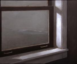 """Shoreline from the Boathouse Window"", 2008, oil on canvas, 36 X 44 inches"