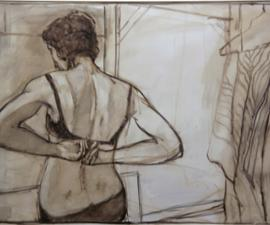 'Model from the Back', 2000, oil on gessoed paper, 28 X 44 inches