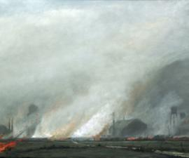 'The Fire Reached Petersons Crossing', 2008, oil on canvas, 38 X 86 inches