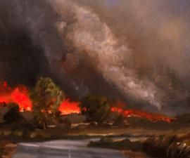 'Forest Fire', oil on canvas, 14x12' 2001; private collection