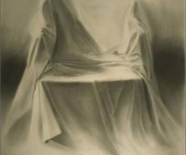"Draped Chair, charcoal on buff paper, 1999, 48x36""; collection of the artist"