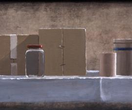 'Still Life w/ Box, Jar, Cup amd Blue Striped Container', 2009, acrylic on canvas, 9 X 23 inches