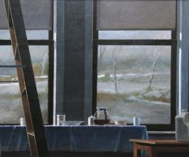 'Winter Day - Studio', 2009, oil on wood panel, 42 x 66 inches