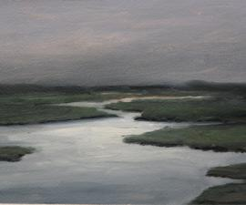 'Arctic River at Night #3', 2009, oil on gessoed paper, 7 x 12 inches