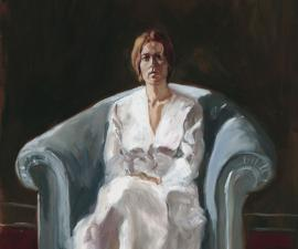 """Artist's Model in a White Dress"", 1973, oil on paper, 22.5 x 16.5"""
