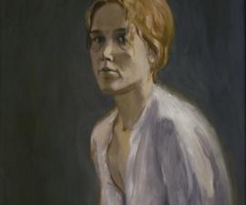 """""""Portrait of Women in a White Dress"""", 1970's, oil on paper, 24.5 x 17.5"""""""