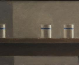 """Simple Still Life - Three Cups"" 2013, oil on canvas, 11 x 24"""