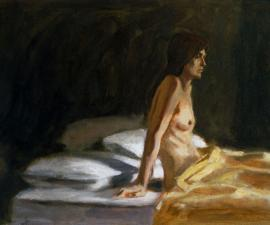 'Girl with Yellow Blanket', 12x17 ', oil on paper, 1980, private collection