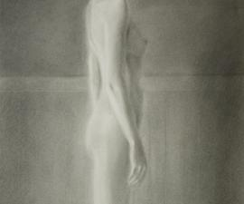 'Walking Nude', charcoal, 24 x 14""