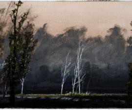 """Fork in the River"", 2002, oil on paper, 8.25 x 14.75"", private collection"