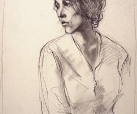 'Portrait Study', 1973, charcoal on paper, 14 1/2 X 10 1/2 inches; collection of the artist