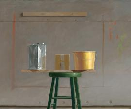"""""""Simple Still Life with Yellow Bucket"""", 2000 - 2019, oil on canvas, 36"""" x 66"""""""