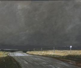 """Tornado Weather"", 2009-14, oil on canvas,42 x 90"""